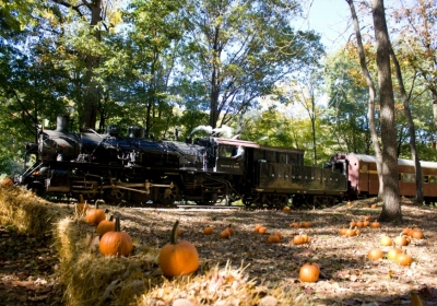 The Great Pumpkin Train operated by the Delaware River Railroad Excursions on the Bel-Del line.