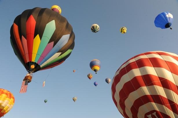 Balloons rise at the Warren County Farmers' Fair and Hot Air Balloon Festival